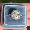 2.85ct Antique Cushion Cut Diamond Halo Ring 14