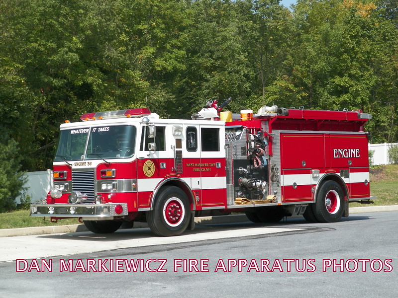 WEST HANOVER TWP. FIRE CO. RESERVE ENGINE  1990 PIERCE PUMPER