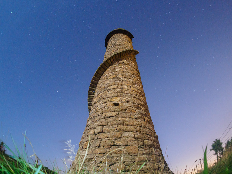 Ballycorus Lead Mines Chimney by moonlight