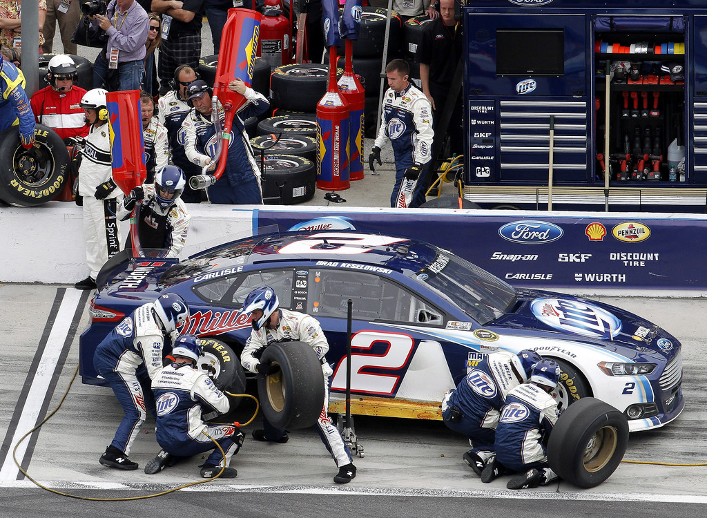 . Brad Keselowski pits for fuel and tires during the NASCAR Daytona 500 Sprint Cup Series auto race at Daytona International Speedway, Sunday, Feb. 24, 2013, in Daytona Beach, Fla. (AP Photo/David Graham)