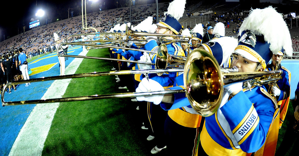 . UCLA Bruins band performs prior to their college football game against the Washington Huskies in the Rose Bowl in Pasadena, Calif., on Friday, Nov. 15, 2013.   (Keith Birmingham Pasadena Star-News)