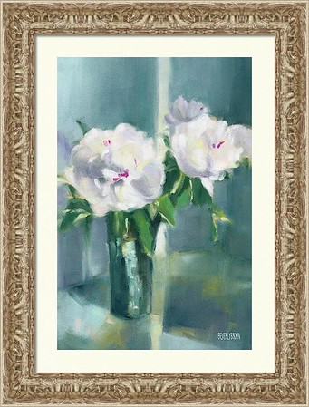 White Peony Framed Print from an original pastel peony painting by artist Beverly Brown. Floral wall art in white, gray, lavender, emerald green, teal and yellow set off by a gold frame. Framed prints and canvas wall art in multiple sizes and framing options for sale at www.beverlybrown.com