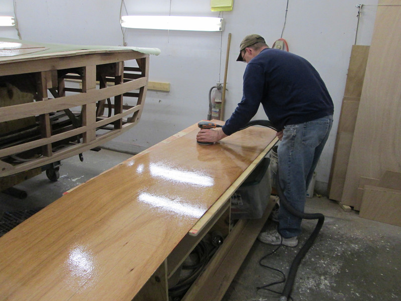 Inside of the plwood skin being sanded before we install it.