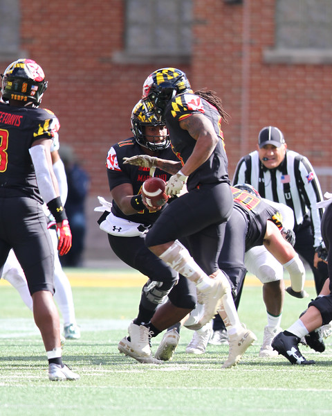 Maryland QB #11 Kasim Hill hands the  ball off to RB #5 Anthony McFarland