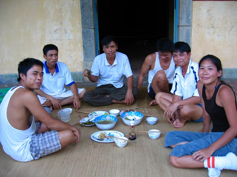 having dinner and rice wine with the lighthouse keepers.  they don't get many visitors.