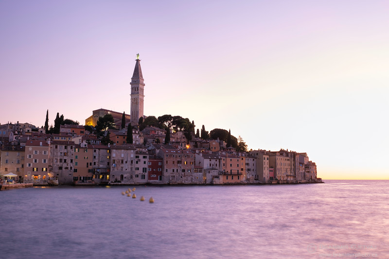Coastal town of Rovinj at twilight. Istria, Croatia
