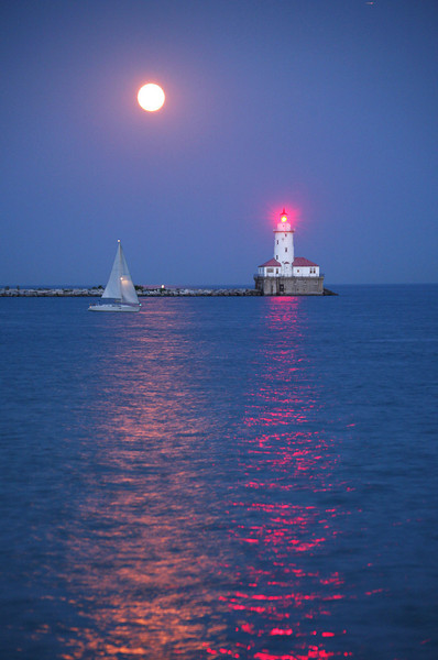 Moonrise, Navy Pier, Chicago