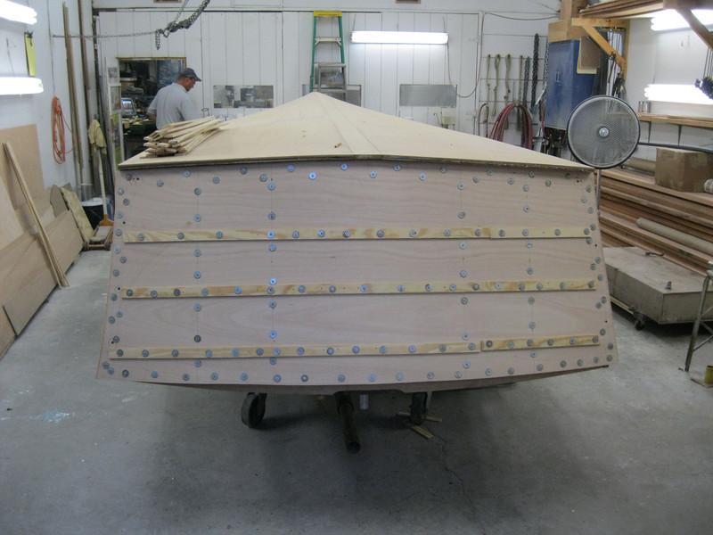 Transom plywood installed.