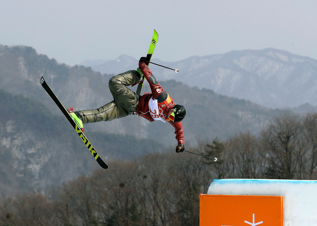. Alex Beaulieu-Marchand, of Canada, jumps during the men\'s slopestyle final at Phoenix Snow Park at the 2018 Winter Olympics in Pyeongchang, South Korea, Sunday, Feb. 18, 2018. (AP Photo/Kin Cheung)