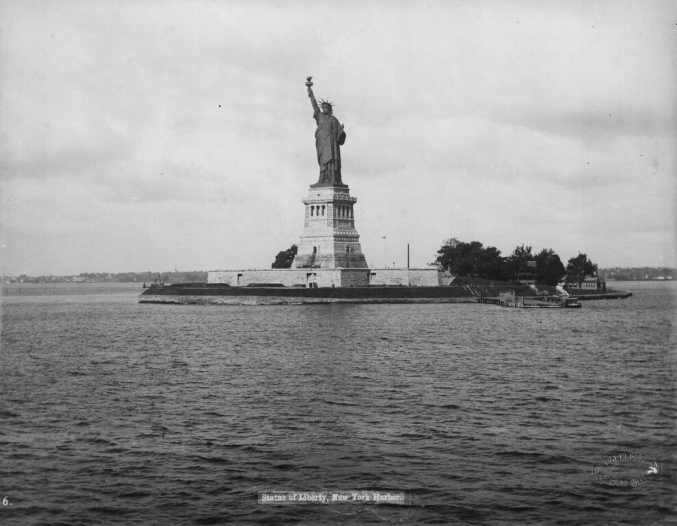 . 1893:  The statue of Liberty on Liberty Island in New York harbor. Designed by the French sculptor Frederick Bartholdi, the statue was presented to the United States by France in 1876.  (Photo by Loeffler/Fox Photos/Getty Images)