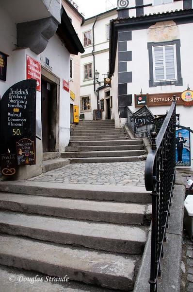 Cobblestone walk and stairs in Cesky Krumlov