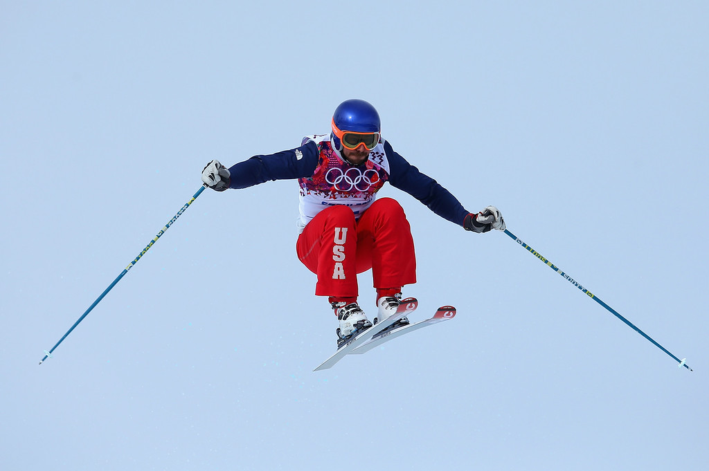 . John Teller of USA makes a jump in the practice round during the Mens Ski Cross Freestyle Skiing at Rosa Khutor Extreme Park on February 20, 2014 in Sochi, Russia.  (Photo by Julian Finney/Getty Images)