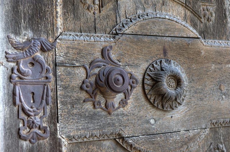 Carvings on a wooden door - Transylvannia, Romania