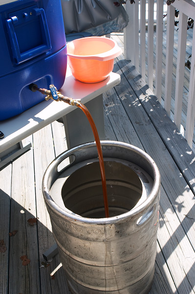 Wort is drained into the boiling pot