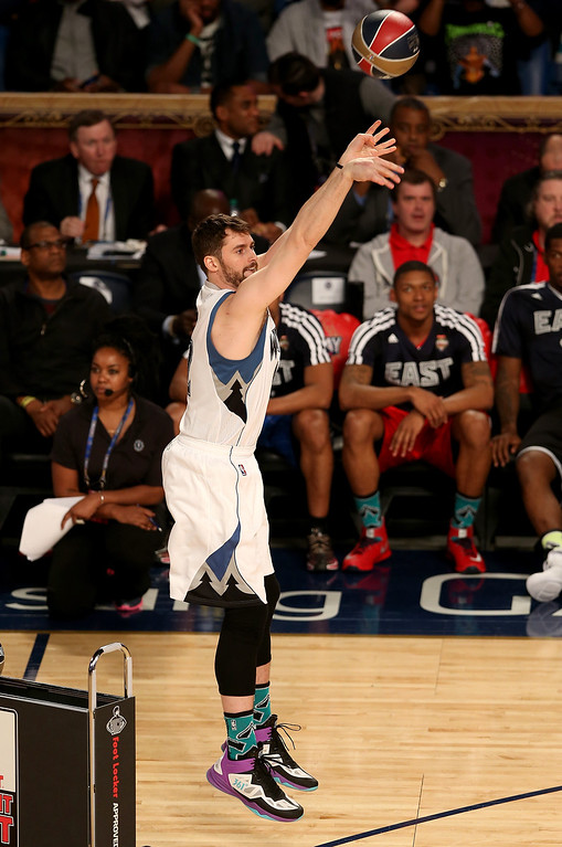 . NEW ORLEANS, LA - FEBRUARY 15:  Western Conference All-Star Kevin Love #42 of the Minnesota Timberwolves competes during the Foot Locker Three-Point Contest 2014 as part of the 2014 NBA All-Star Weekend at the Smoothie King Center on February 15, 2014 in New Orleans, Louisiana. (Photo by Christian Petersen/Getty Images)