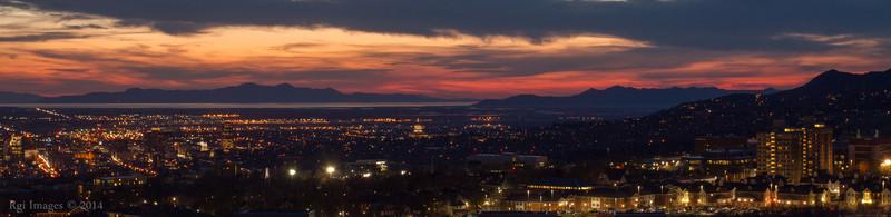 Sunset over downtown Salt Lake City.