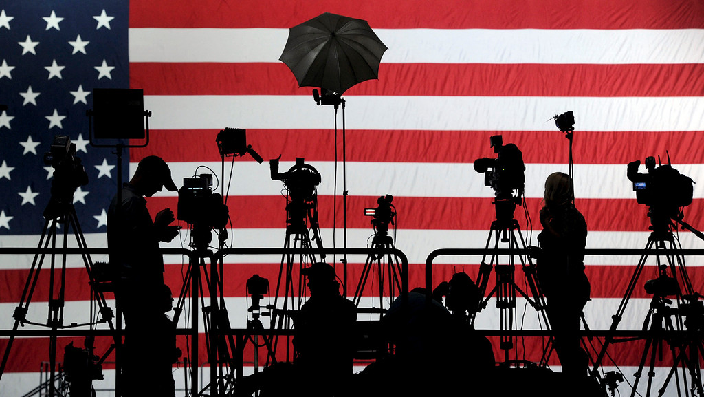 . The media sets up on the risers before Democrat Tom Wolf\'s rally in the Utz Arena of the York Expo Center in York, Pa. on Tuesday, Nov. 4, 2014. (AP Photo/York Daily Record, Jason Plotkin)