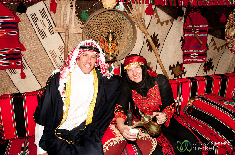 Audrey and Dan Get Decked Out in Traditional Jordanian Dress