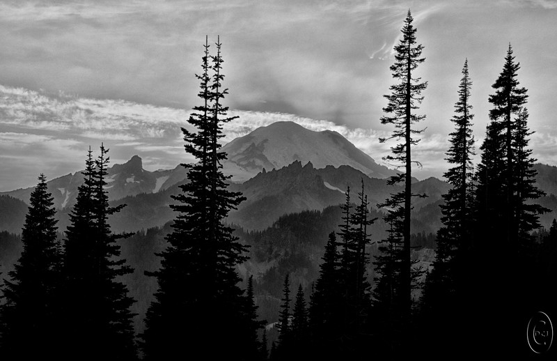 """22 Dec 15Day 8 has us looking at one of the two remaining B&W images I mentioned last week. This time it is a B&W of a colored version I shared a few weeks back, that of the set of """"stacked"""" mountains from Tipsoo Lake. My approach to this version was that of creating a silk screen and although it doesn't have that look throughout, I think it approached that effect rather well in the layers of mountains. The big peak in the image is Mt Rainier, the highest peak in the Cascade Range measuring in at 14,411feet (4,392 meters) in height. Not all that difficult a climb to the summit and hundreds of folks claim it annually. If memory serves me correctly, it has more glaciers on it than any other mountain and one of its glaciers, the Nisqually Glacier, is the most studied glacier in the world. Glaciologists have been marking the endpoints of its growth and shrinkage for decades and the side of it is literally littered with flags, so many flags that it sometimes looks like a flagged rope line paralleling the edge of the glacier. This shot is taken from Tipsoo Lake with the highway immediately behind me and the lake on the other side of the road. This is a great location for star photography and if you are of the mindset to spend your night shooting the stars I highly recommend this location. Best part, for at least some I would imagine, is that there is a campground 100 yards or so down the road with restroom facilities as well as plenty of accessible parking. Next time, or first time, you visit Mt Rainier National Park from either entrance, be sure to include a visit to Tipsoo Lake as part of your itinerary.  As before, the base image is actually 5 individual shots [ -2, -1, metered, +1, +2 ] which I ran through an HDR program to get a single image. Next I enhanced the small details to tease out the layering that my eyes could clearly see but the camera not so well, then gave it a small amount of global micro contrast enhancement. Finished all that with a conversion to mono"""