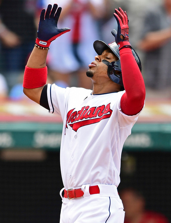 . Cleveland Indians\' Francisco Lindor celebrates after hitting a two-run home run  in the fourth inning of a baseball game against Detroit  Sunday, June 24, 2018, in Cleveland. (AP Photo/David Dermer)