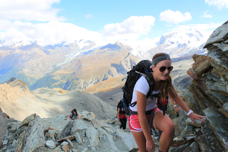 Mady hiking up to the Matterhorn