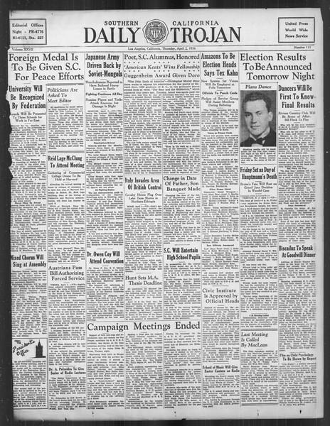 Daily Trojan, Vol. 27, No. 111, April 02, 1936