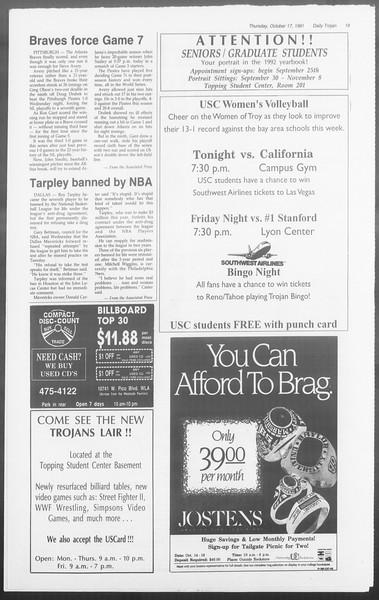 Daily Trojan, Vol. 116, No. 33, October 17, 1991