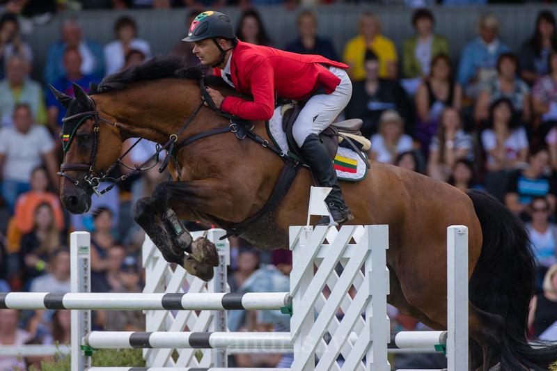 Danielius GUTKAUSKAS (LTU) with the horse TOM RIDDLE S, World Cup competition, Grand Prix Riga, CSI2*-W, CSIYH1* - Riga 2016, Latvia