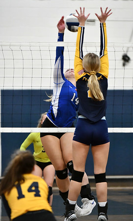11/16/2019 Mike Orazzi | StaffrWoodstock Academy's Amelia Large (2) and Bristol Easterns Ariana Caucci (14) during the 2019 State Girls Volleyball Tournament Class L Quarterfinals at BEHS in Bristol Saturday. r