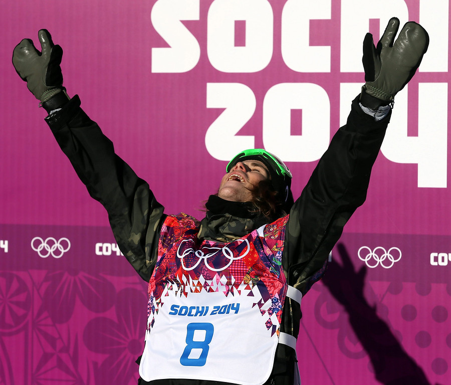 . Staale Sandbech of Norway reacts after finishing his second run during the Men\'s Snowboard Slopestyle qualification at Rosa Khutor Extreme Park at the Sochi 2014 Olympic Games, Krasnaya Polyana, Russia, 06 February 2014.  EPA/SERGEY ILNITSKY