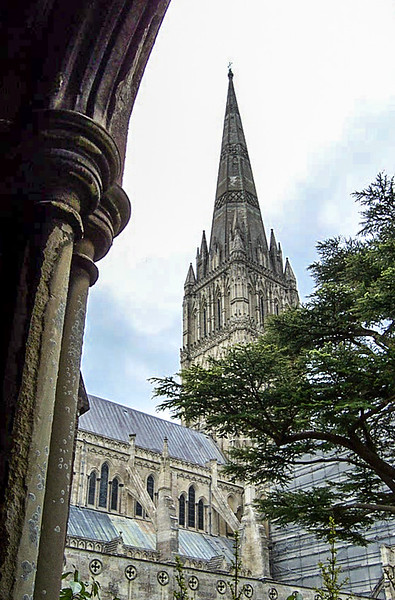Salisbury Cathedral - looking up from the Cloister