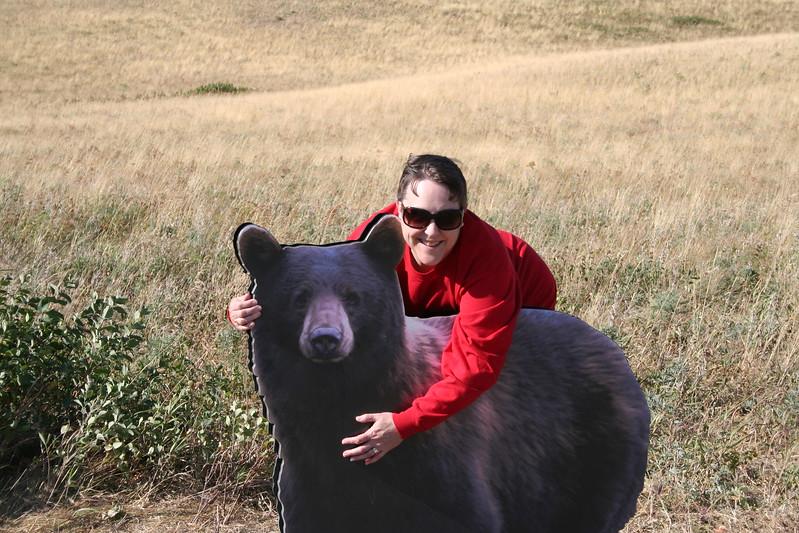 20110829 - 153 - WLNP - Lisa Hugging A Bear Along Red Rock Parkway.JPG