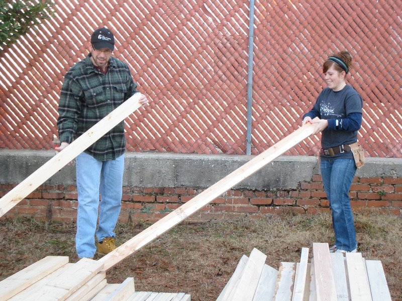 """10 1-17 MLK Day - Sorting through the 2""""x4""""s checking for any crooked boards.  ky"""
