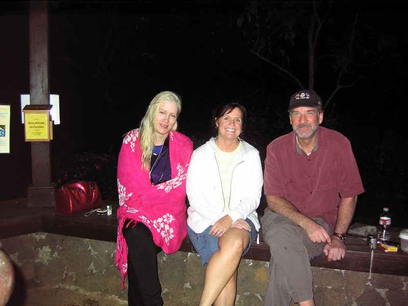 Geoff Hoppe, Kathleen Haws and Charity Parrish at 5:00 a.m. after spending the night in the parking lot of the Hindu Monastery during the tsunami evacuation.