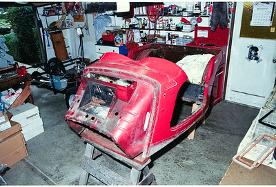 This is the 'Tub' of the MGTD and is actually the body of the auto.  If has been stripped of parts in preparation to be sent to the painters for hand stripping of the paint, etc. prior to painting.