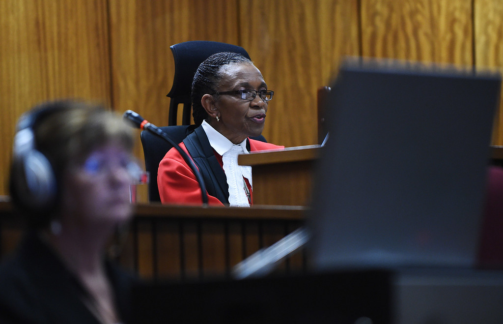 . Judge Thokozile Masipa hands down her verdict on September 11, 2014 at the High Court in Pretoria on whether South African paralympian athlete Oscar Pistorius is guilty of the 2013 Valentine\'s Day murder of his model girlfriend. Masipa moved swiftly into her assessment of the almost 40 witnesses, apparently rejecting state evidence that pointed to an argument between the couple. The judge also found that Pistorius was not guilty of the premeditated murder of girlfriend Reeva Steenkamp, dismissing the most serious of charges against him. Phill MagakoePhill Magakoe/AFP/Getty Images