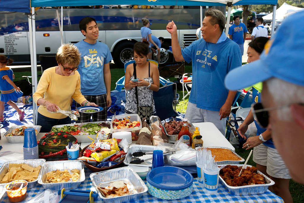 . Tailgating before the UCLA-Nevada game at the Rose Bowl, Saturday, August 31, 2013. (Michael Owen Baker/L.A. Daily News)