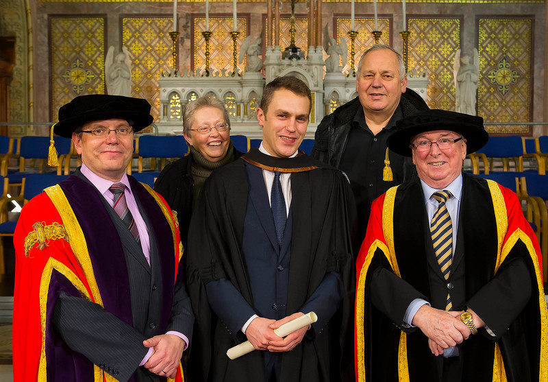 Waterford Institute Of Technology Conferring. Pictured at WIT Waterford Institute Of Technology Conferring is Sean Woodward who graduated Bachelor of Arts (Honours) in Marketing. Also pictured from left, Dr. Ruaidhrí Neavyn, President, WIT, Leslie and Raymond Woodward and Dr Donnie Ormonde Chairman WIT. Picture: Patrick Browne