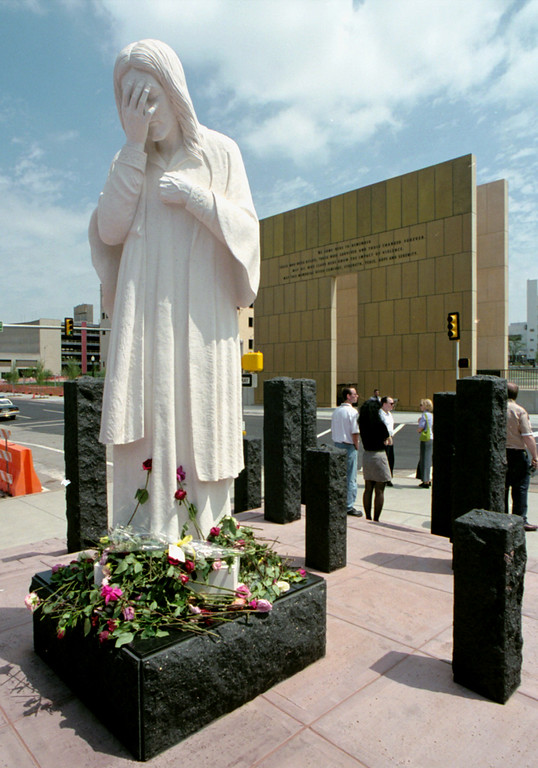 ". File Photo: A Statue Entitled ""And Jesus Wept\"" Was Erected By Saint Joseph\'s Old Cathedral Across The Street From The Oklahoma City National Memorial To Recognize The 19 Children Killed In The April 25, 1995 Bombing Of The Murrah Federal Building.   (Photo By David Mcneese/Getty Images)"