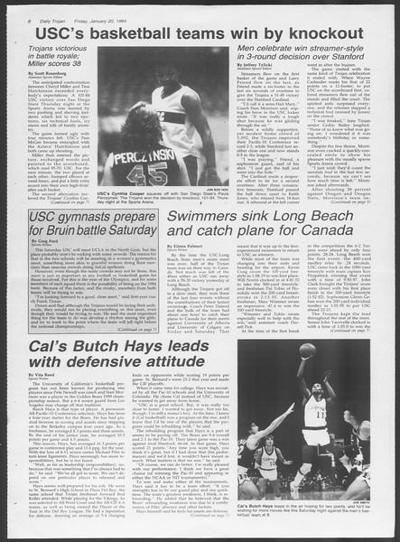 Daily Trojan, Vol. 95, No. 9, January 20, 1984