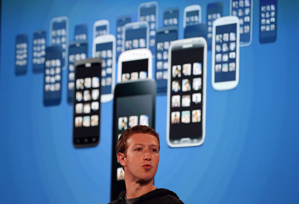 . Facebook CEO Mark Zuckerberg speaks during an event at Facebook headquarters on April 4, 2013 in Menlo Park, California. Zuckerberg announced a new product for Android called Facebook Home.  (Photo by Justin Sullivan/Getty Images)