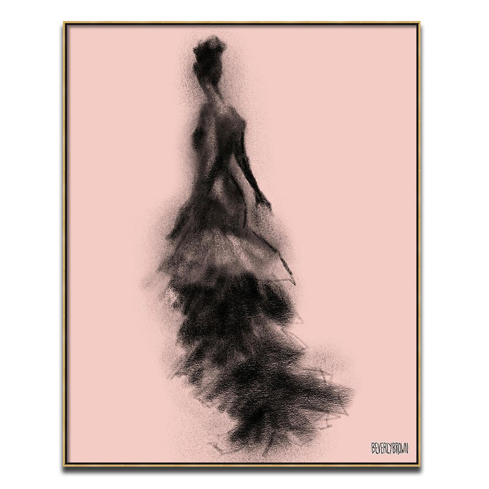 Blush Pink and Black Vintage Fashion Flamenco Style Dress Wall Art Print - Beverly Brown - beverlybrown.com