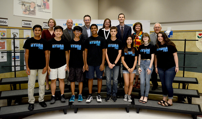 Vandegrift High School's 7161 Hydra robotics team, recognized for advancing to the FIRST Robotics World competition.