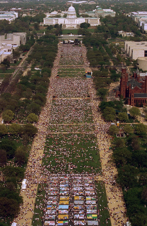 . In this April 25, 1993 file photo, a view from atop the Washington Monument shows 300,000 people gathered for the National March on Washington for Gay and Lesbian Rights in the U.S. capital. A Democrat in the White House. Demands for sweeping civil rights protections. Religious opponents working to undo a string of state-based victories. That was the backdrop in 1979 when gay rights activists staged their first national march in Washington. Thirty years later, with the landscape looking much the same, thousands of advocates are preparing to rally again in the nation\'s capital this weekend. (AP Photo/Mark Wilson, file)