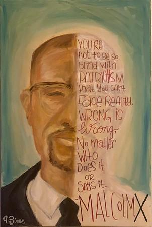"""""""Malcolm X"""" (oil on canvas) by Jasmyn Bines"""
