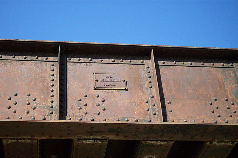 The builder's plate on the east girder of the UP bridge. Built in 1901 by the American Bridge Company. April 30, 2006. (Don Strack Photo)