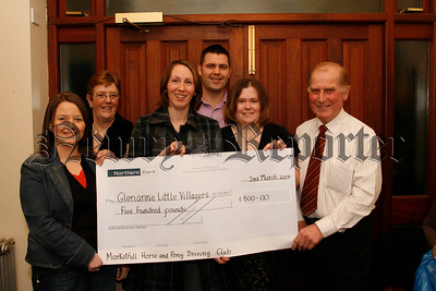 Members of the Markethill Horse & Pony Driving Club LTD, present a cheque for £500 to Little Villagers Play Group Glenanne, photo l-r Donna Henning (deputy leader villagers play group), Evelyn Mc Caughey (secretary driving club), Karen Graham, David Graham ( vice chairman villagers play group), Allison Clarke ( chairperson villagers play group) and Trevor Mc Caughey ( chairman horse & pony driving club), 07W10N60