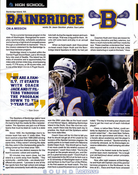 "MCLA Article: ""Bainbridge - On A Mission"""