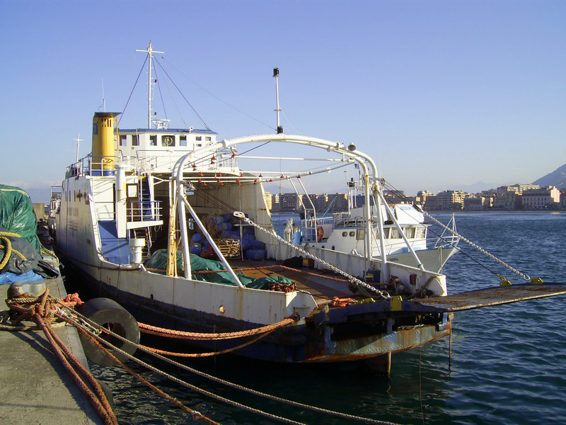 F/B FERRY CAPRI laid up in Castellammare di Stabia. From 1966 to 1980 the only ferry able to carry trucks between Napoli and Capri island. Then until 1994 continued to carry garbage, oil and special transports.