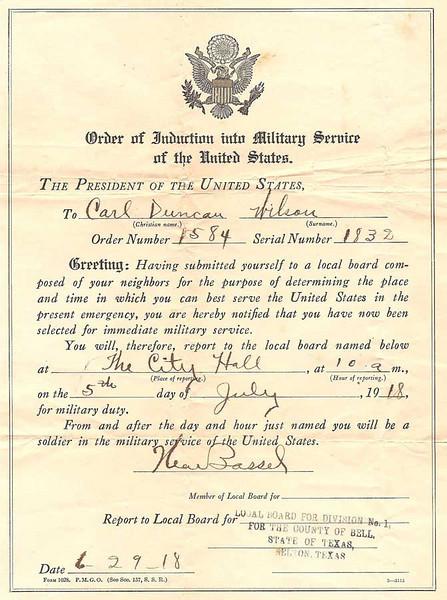 1918 - Induction Orders for Carl Wilson Duncan.jpg